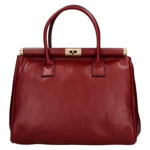 Dámska kožená kufríková kabelka Hexagon Zoe - vínová