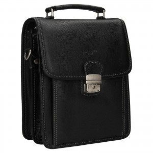 Pánska kožená taška cez rameno Hexagona Alnes - čierna