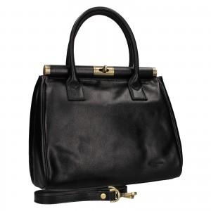 Dámska kožená kufríková kabelka Hexagona Hannas - čierna
