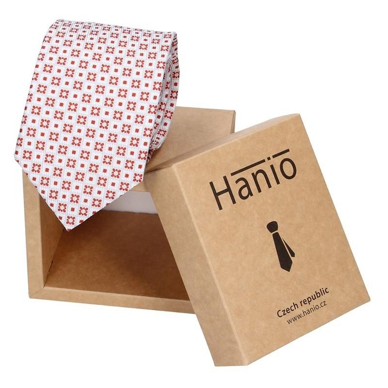 Pánská hedvábná kravata Hanio Vano - červeno-bílá