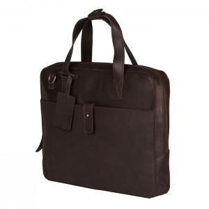 Kožená taška na notebook Burkely Monaco - tmavo hnedá