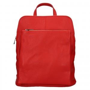 Kožený dámsky batoh Unidax Marion - červená