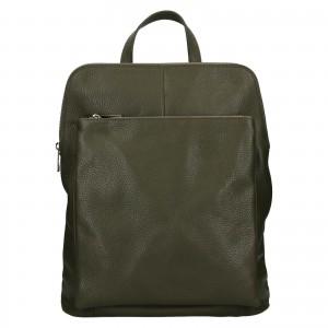 Kožený dámsky batoh Unidax Marion - olivová