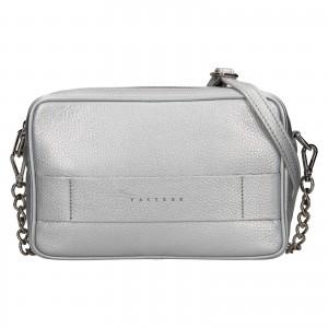 Trendy dámska kožená crossbody kabelka Facebag Ninals - stříbrná