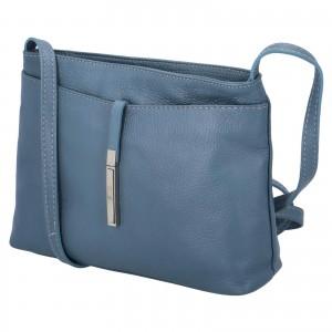 Dámska crossbody kožená kabelka Delami Serena - modrá