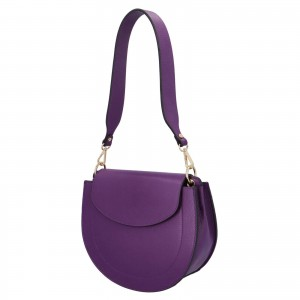 Dámska crossbody kožená kabelka Delami Levia - fialová