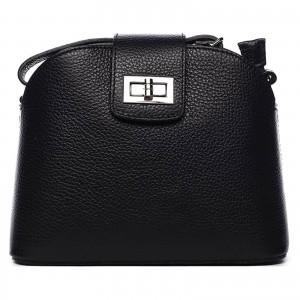 Dámska crossbody kožená kabelka Delami Lisse - čierna