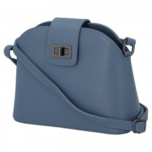 Dámska crossbody kožená kabelka Delami Lisse - modrá