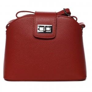 Dámska crossbody kožená kabelka Delami Lisse - tmavě červená