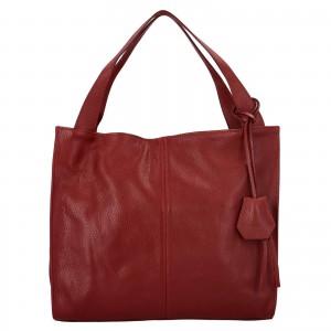 Dámska kožená kabelka Delami Camilla - červená