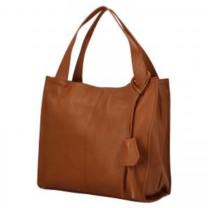 Dámska kožená kabelka Delami Camilla - koňak