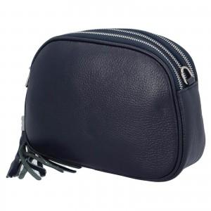Dámska crossbody kožená kabelka Delami Beate - tmavo modrá