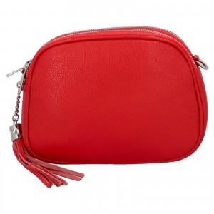 Dámska crossbody kožená kabelka Delami Beate - červená
