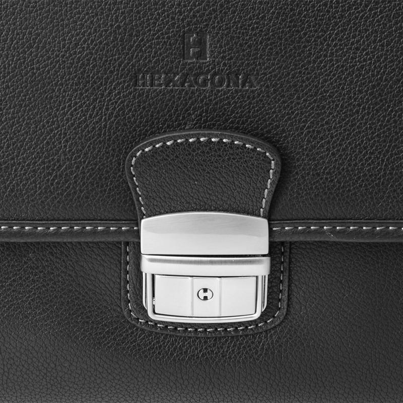 Celokožená pánská aktovka Hexagona 461352 - černá