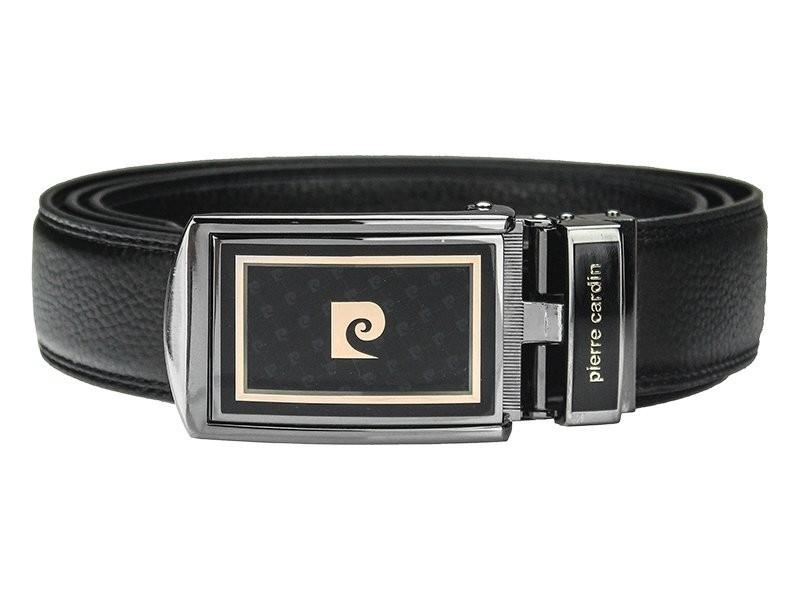 Čierny kožený pánsky opasok Pierre Cardin Apolon