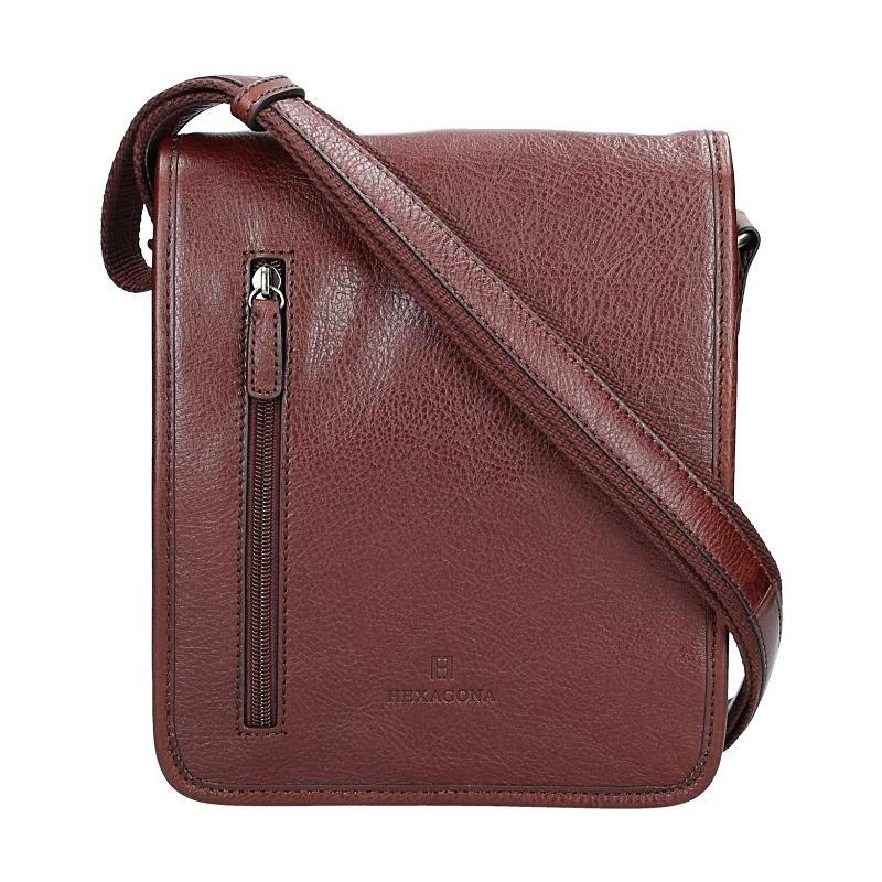 Pánska kožená taška cez rameno Hexagona 129483 - koňak