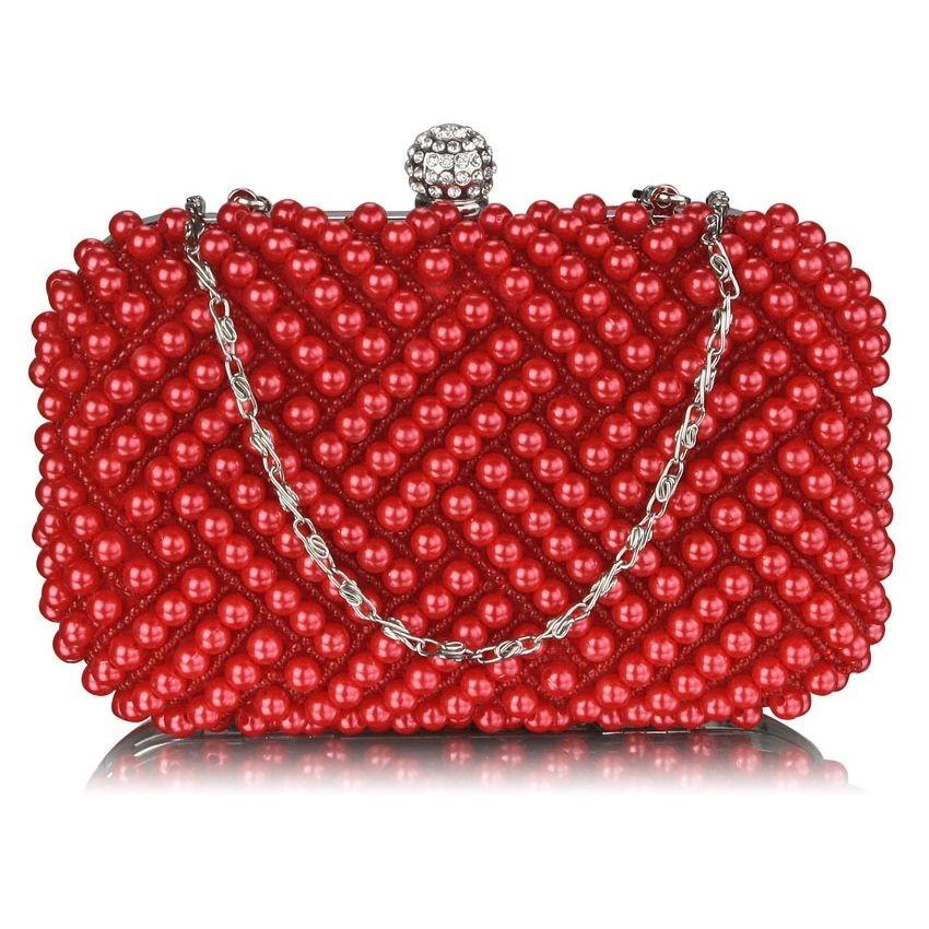 Dámska perličkova listová kabelka LS Fashion Claire - červená